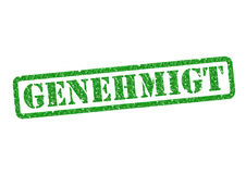 Genehmigt Stempel. Genehmigt Approved Stempel Stamp over a white background Royalty Free Stock Photography
