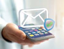 Genehmigtes und überprüftes E-Mail-Symbol angezeigt auf einem futuristischen int Stockfotos