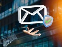 Genehmigtes und überprüftes E-Mail-Symbol angezeigt auf einem futuristischen int Lizenzfreies Stockbild