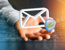 Genehmigtes und überprüftes E-Mail-Symbol angezeigt auf einem futuristischen int Lizenzfreie Stockfotografie