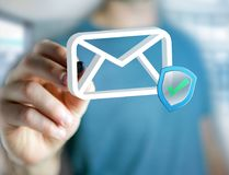 Genehmigtes und überprüftes E-Mail-Symbol angezeigt auf einem futuristischen int Lizenzfreie Stockfotos