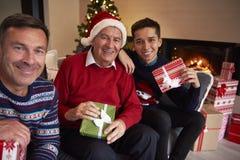 Generación tres de hombres Imágenes de archivo libres de regalías