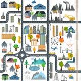 Generador del mapa de la ciudad Ejemplo del mapa de la ciudad Elementos para crear su stock de ilustración