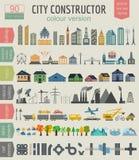 Generador del mapa de la ciudad Elementos para crear su ciudad perfecta columna Fotos de archivo