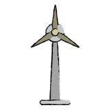 Generador exhausto de la electricidad de la turbina de viento de la ecología stock de ilustración