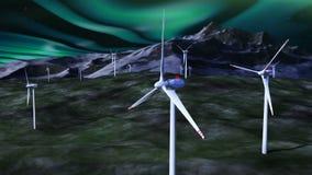 Generadores de viento contra el cielo nocturno con borealis ilustración del vector