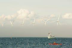 Generadores de viento en el mar Imágenes de archivo libres de regalías