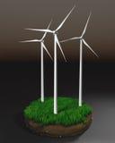 Generadores de viento en el terrón de la tierra Fotos de archivo libres de regalías
