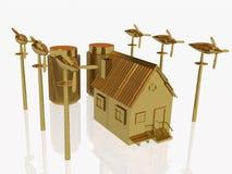 Generadores del hogar y de viento del oro ilustración del vector