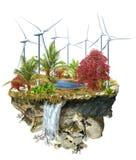Generadores del molino de viento en una isla Imágenes de archivo libres de regalías