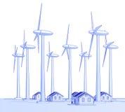Generadores y casas de viento Imágenes de archivo libres de regalías