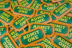 General Admission Tickets. Close-Up of green,yellow and orange General Admission Tickets royalty free stock photography