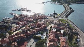 General aerial view of Nessebar, ancient city on the Black Sea coast of Bulgaria stock video footage