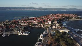 General aerial view of Nessebar, ancient city on the Black Sea coast of Bulgaria. Aerial view of old Nessebar, ancient city on the Black Sea coast of Bulgaria stock video footage