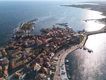 General aerial view of Nessebar, ancient city on the Black Sea coast of Bulgaria stock image