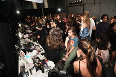 General atmosphere backstage before the Anna Sui Spring 2017 Fashion Show. NEW YORK, NY - SEPTEMBER 14: General atmosphere backstage before the Anna Sui Spring Stock Photography