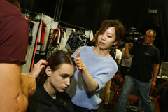 A general atmosphere backstage during the Byblos show as a part of Milan Fashion Week Royalty Free Stock Image
