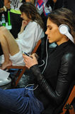 A general atmosphere backstage during the Byblos show as a part of Milan Fashion Week Stock Photos