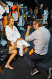 A general atmosphere backstage during the Byblos show as a part of Milan Fashion Week Royalty Free Stock Photo