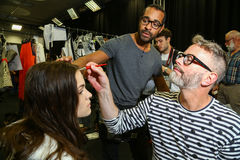 A general atmosphere backstage during the Byblos show as a part of Milan Fashion Week Royalty Free Stock Photography