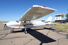 General Aviation Airport. A small private airplane on the tarmac at a general aviation airport Stock Photo