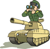 General in battletank. Army general or commander scouting battlefield from a tank Stock Image