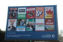 General billboard made by the municipality with all the parties who can be elected. With the local elections in 2018 in the Netherlands, 10 parties in Capelle royalty free stock photos
