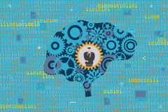 General Business and Management concept. A Businessman in mechanical gears inside a brain with digital data and technology icons floating as background Stock Photos