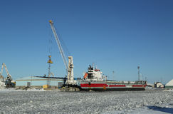 General cargo ship Eemsborg docked in Port Kemi in frozen Baltic Sea Stock Images