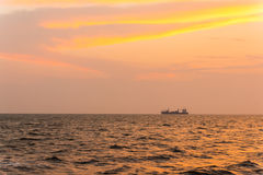Shipping. General cargo ship in the evening Royalty Free Stock Photo