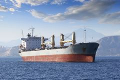General cargo vessel. In the anchorage of Alicante bay Royalty Free Stock Images