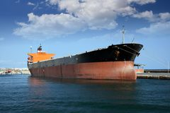 General cargo vessel. Docked in the port of Alicante Royalty Free Stock Photos