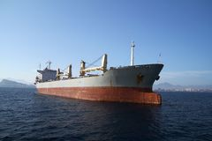 General cargo vessel: forward zon. General cargo vessel in the anchorage of Alicante bay Stock Images