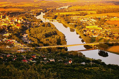 General Chabera bridge and Tyrs bridge over european river Labe between Litomerice city and Mlekojedy village  when viewed from hi Royalty Free Stock Photos
