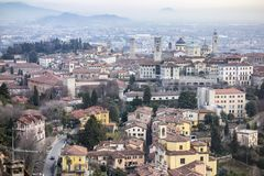 General city view of medieval area, Citta Alta, Bergamo,Lombard. Y,Italy royalty free stock image