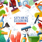 General Cleaning Frame. With dishware brushes wipes mops soaps chemical detergents on white textured background vector illustration royalty free illustration