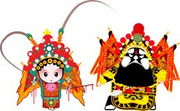 General Couple. A cartoon of two Beijing opera characters Royalty Free Stock Photography