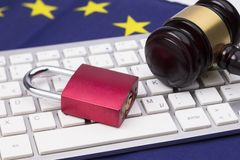General Data Protection closed. Padlocks on Laptop with judge hammer for Data Protection Concept stock photography
