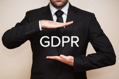 General Data Protection Regulation GDPR. Business interpretes the new General Data Protection Regulation GDPR law by european union Royalty Free Stock Image