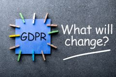 General Data Protection Regulation or GDPR Compliance - What will change - question on dark background.  royalty free stock photography