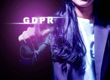 General Data Protection Regulation GDPR concept. Hand of business woman pointing GDPR text on virtual screen. Cyber security and privacy. General Data Protection royalty free stock photography