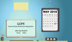 General Data Protection Regulation GDPR Concept Illustration - 25 May 2018. Office desk with calendar. royalty free illustration