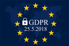 General Data Protection Regulation GDPR. On dotted world map background Stock Image