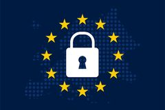 General Data Protection Regulation GDPR. On european dotty map background Stock Photography