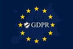 General Data Protection Regulation GDPR. On european dotty map background Royalty Free Stock Photo
