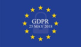General Data Protection Regulation GDPR. On european union flag Royalty Free Stock Photo