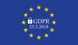 General Data Protection Regulation GDPR. On european union flag royalty free illustration
