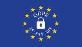 General Data Protection Regulation GDPR. On european union flag Stock Images