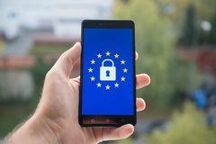 General Data Protection Regulation GDPR. On mobile phone Royalty Free Stock Images