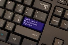 General Data Protection Regulation GDPR. On keyboard enter button Stock Photography